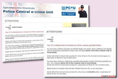 Police Central e-crime Unit scam