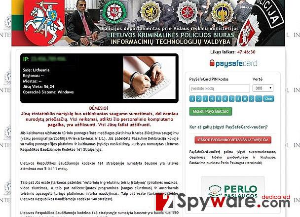 'Policijos Departamentas Prie Vidaus Reikalų Ministerijos' virus snapshot