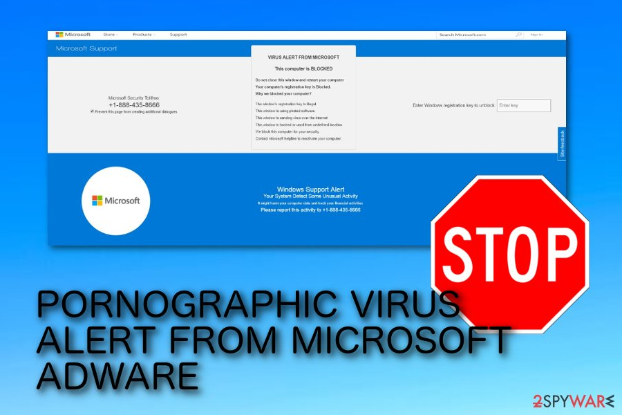 PORNOGRAPHIC VIRUS ALERT FROM MICROSOFT pop-up scam