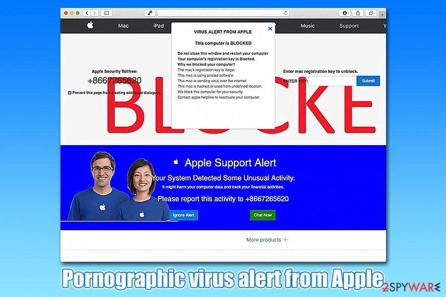 Pornographic virus alert from Apple