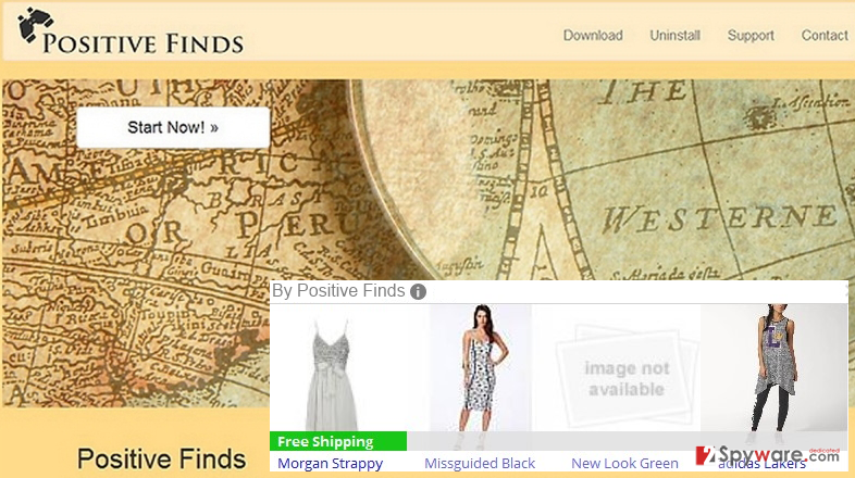 The main page of Positive Finds adware