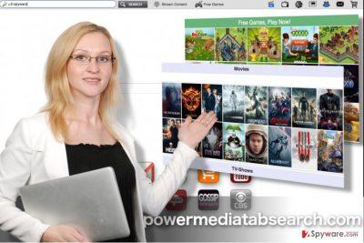 Powermediatabsearch.com virus homepage snapshot