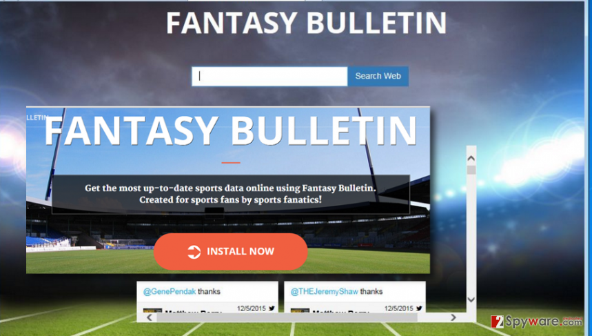 Presenting the search engine and homepage of Fantasybulletin.net virus