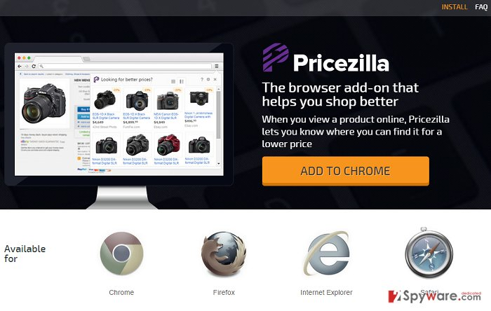 PriceZilla ads