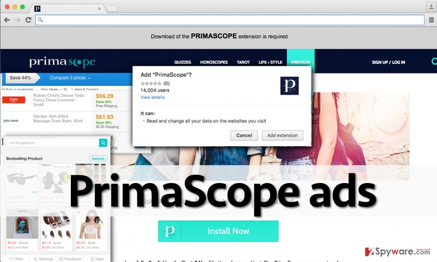 Screenshot of the official page of PrimaScope and its ads