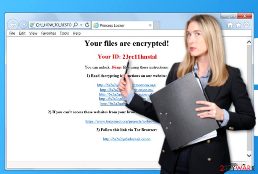 Princess Locker virus leaves ransom note