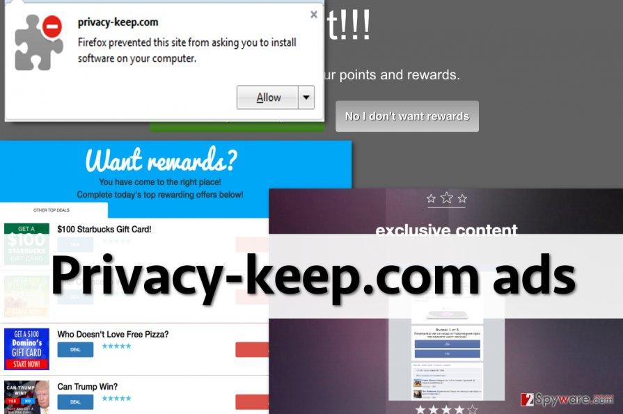 Privacy-keep.com displays various ads