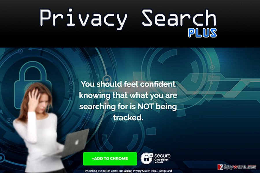 The screenshot of Privacy Search Plus