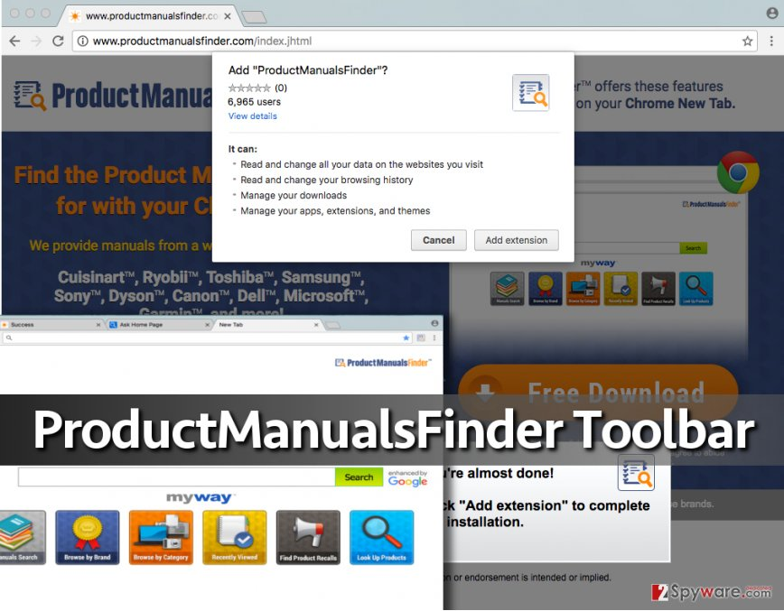 Screenshot of ProductManualsFinder