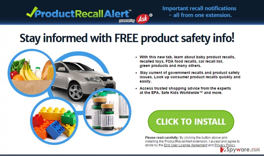 ProductRecallAlert Toolbar