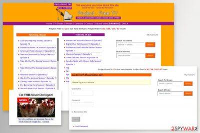 The image of ProjectFreeTV website