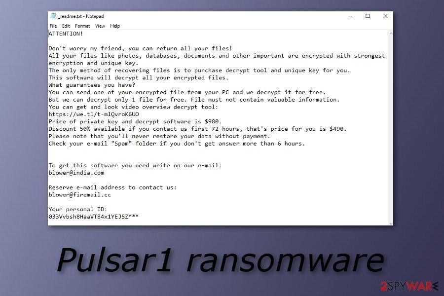 Pulsar1 ransomware virus