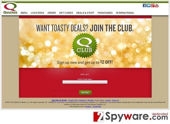 Qclub.Quiznos.com pop-up ads snapshot