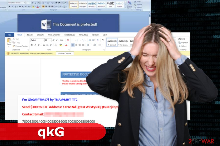 Example of qkG ransomware virus attack