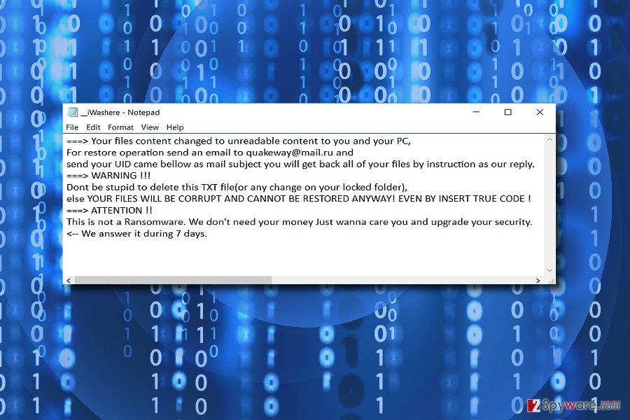 The image displaying QuakWay malware
