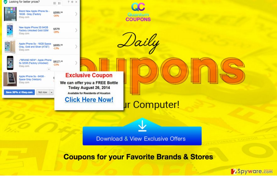 QuantumCoupons virus official website and example of QuantumCoupons ads