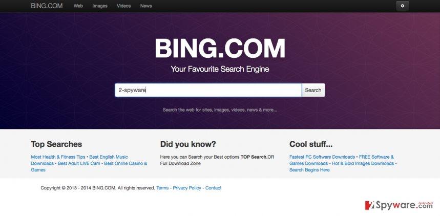 A screenshot of the Quick4search.com hijacker
