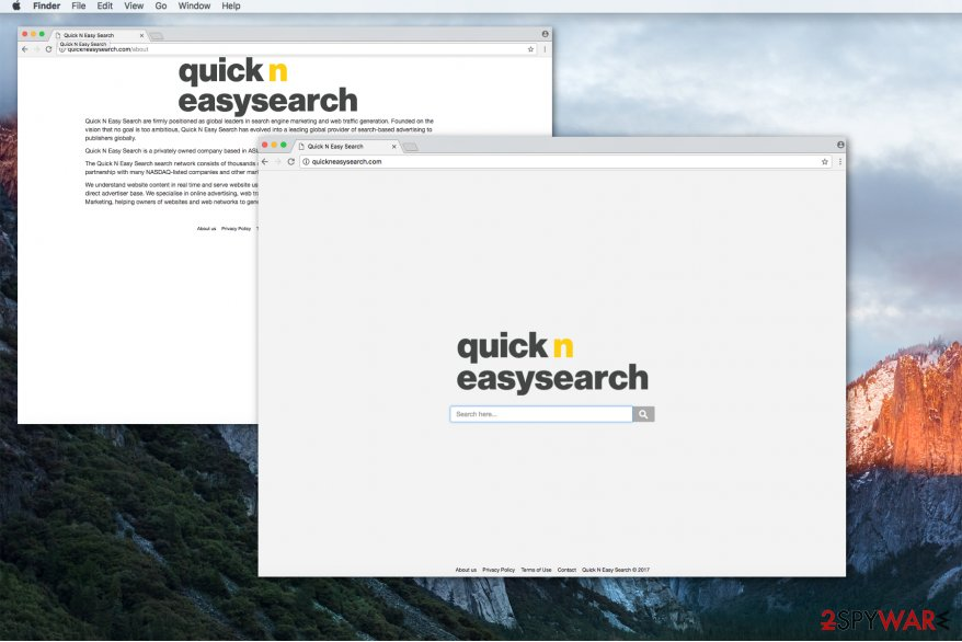 Quickneasysearch.com virus hijacks web browser