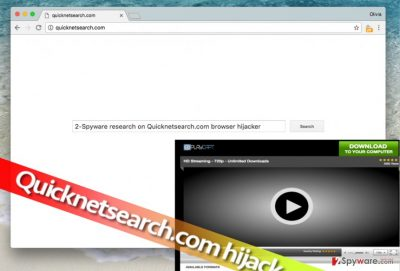 Image showing Quicknetsearch.com hijacker in a web browser