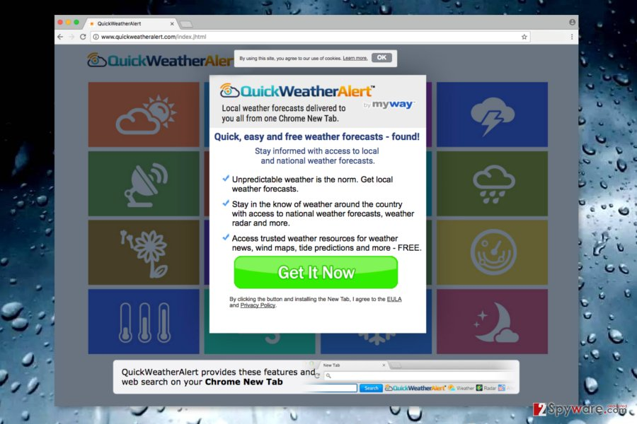 Screenshot of QuickWeatherAlert official site