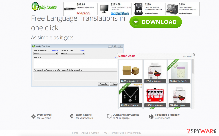 Quicky Translator adware promotion website filled with pop-up advertisements