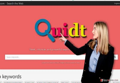 The screenshot of Quidt.com virus browser hijacker