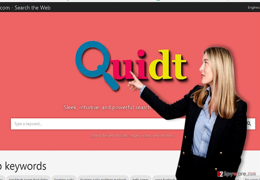 The screenshot of Quidt.com virus browser hijacker