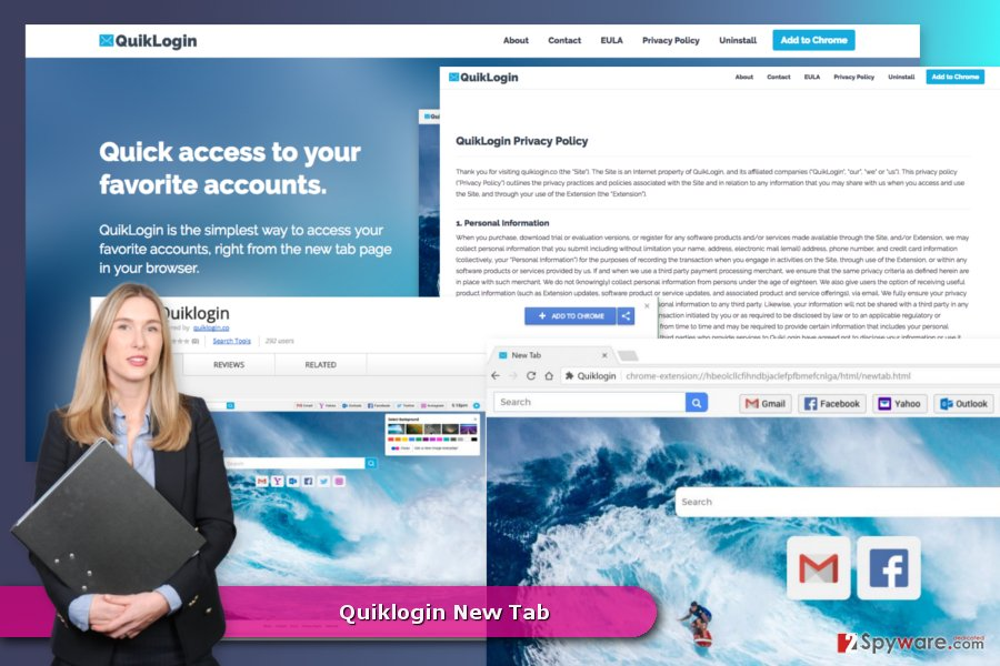 The picture of Quiklogin New Tab virus