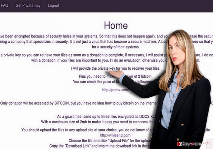 The picture displaying R ransomware
