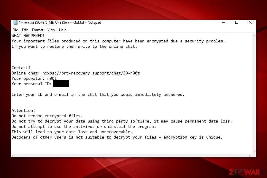R00t ransomware