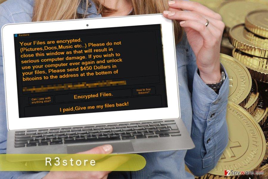 The illustration of R3store ransomware virus