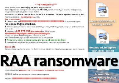 Ransom note left by RAA virus