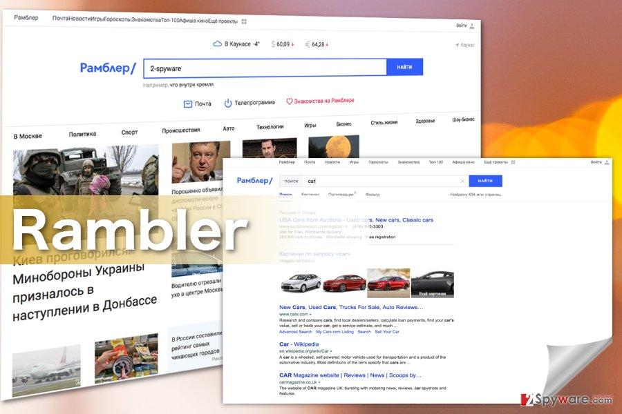 Screenshots of the Rambler Search virus