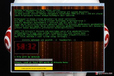 Ransom note by Ramsey ransomware virus