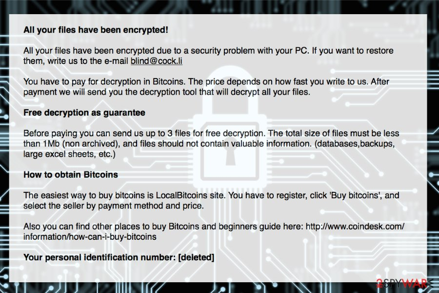 The ransom note by Blind ransomware