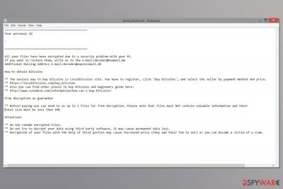 Ransom note by Decoder malware