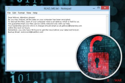 Ransom note by Evasive ransomware virus
