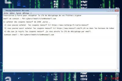 Hacking ransomware screenshot