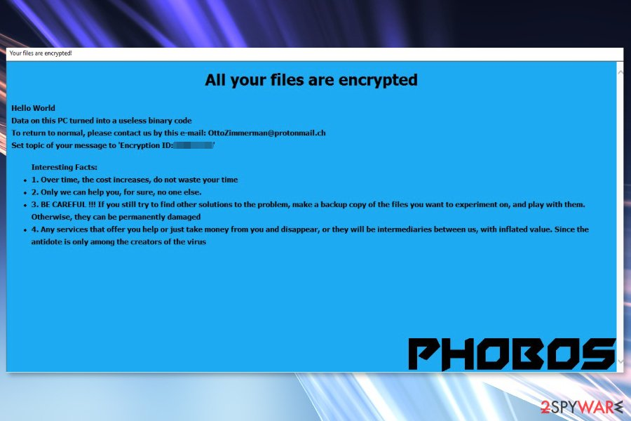 Ransom note by Phobos ransomware virus