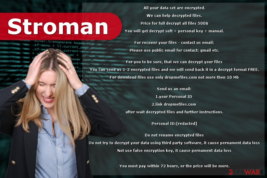 Ransom note by Stroman ransomware virus
