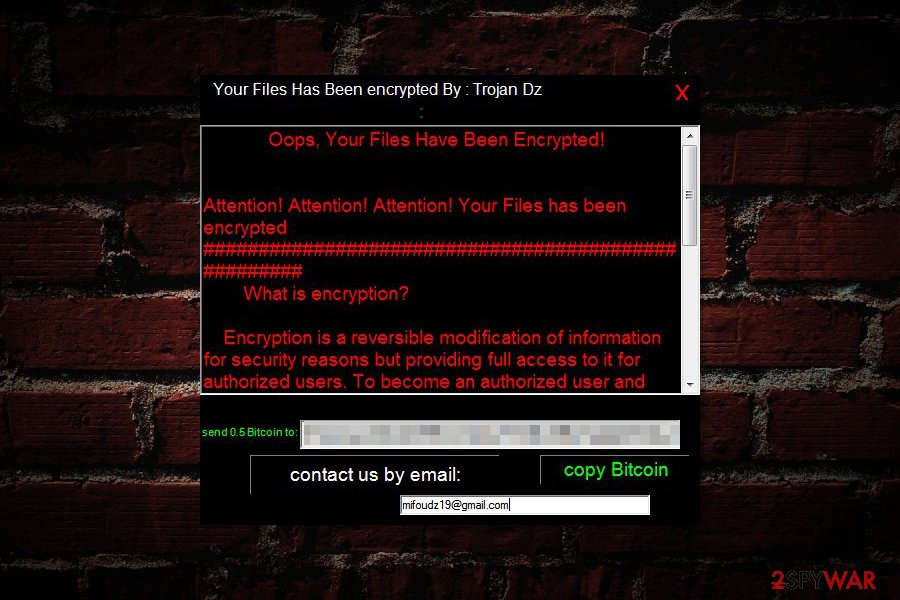 Trojan Dz ransom note