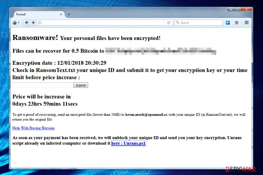 Ransom note by Unrans ransomware