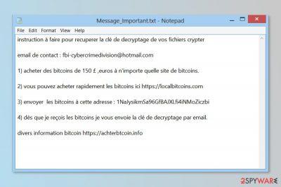 Ransom note by VideoBelle ransomware virus