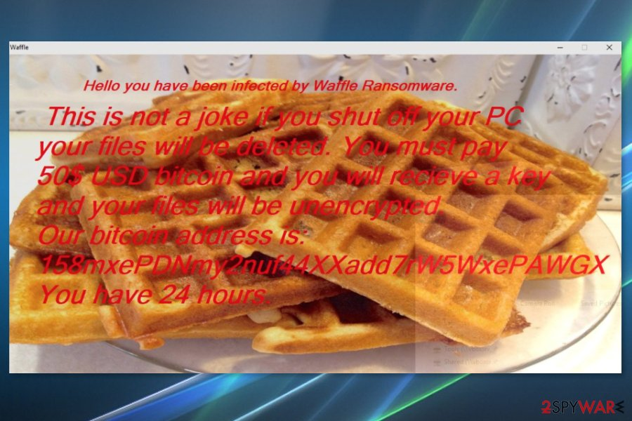 Screenshot of Waffle virus ransom note