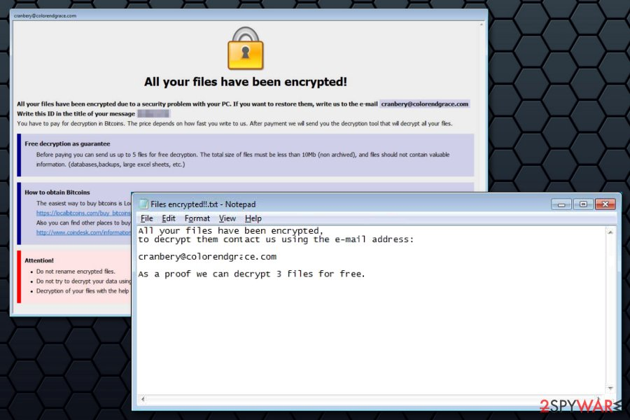Ransom notes by Cobra ransomware virus