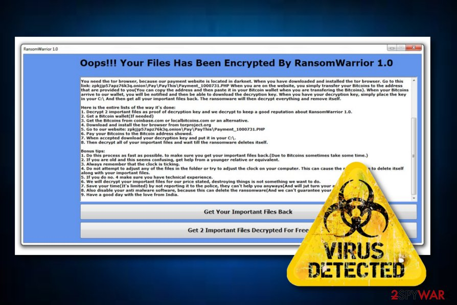 RansomWarrior ransomware