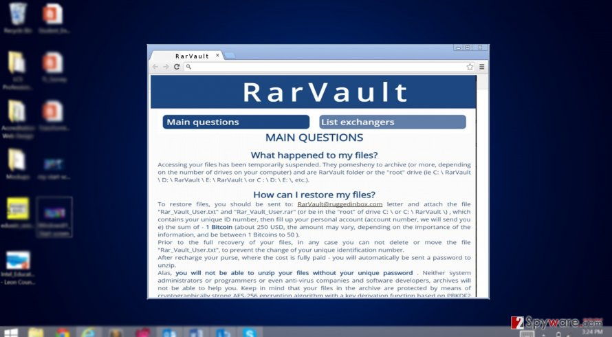 RarVault virus encypts personal files