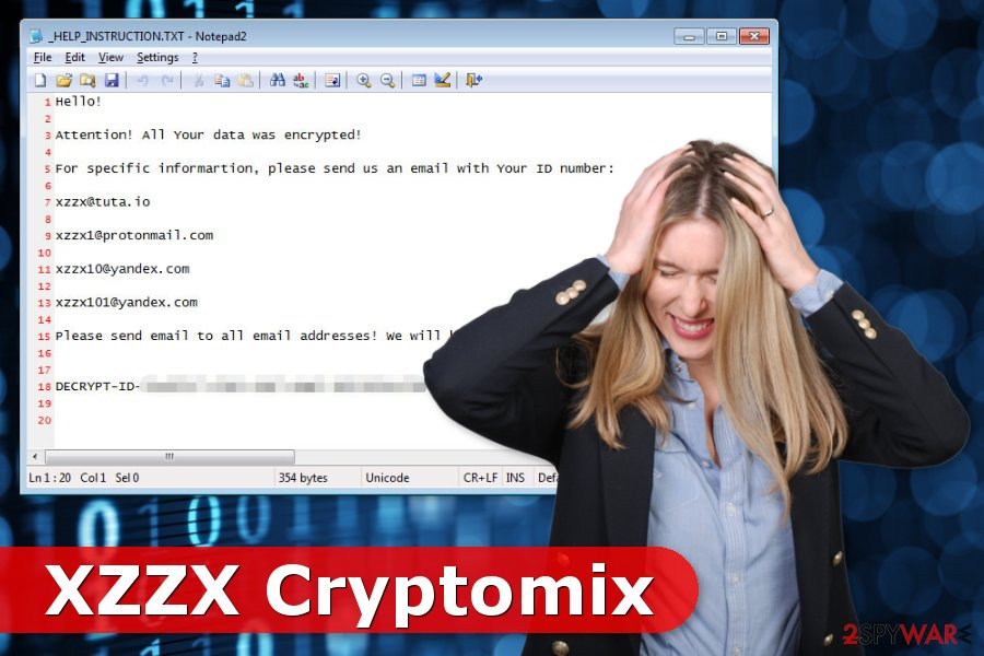 Example of XZZX ransomware virus