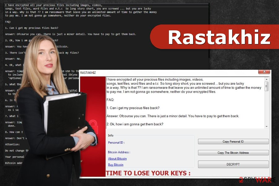 Example of Rastakhiz ransomware virus