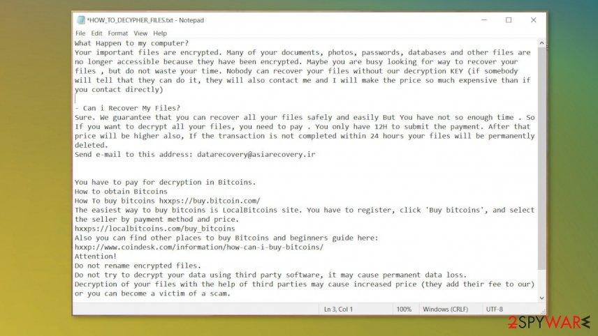 Rastar ransomware virus